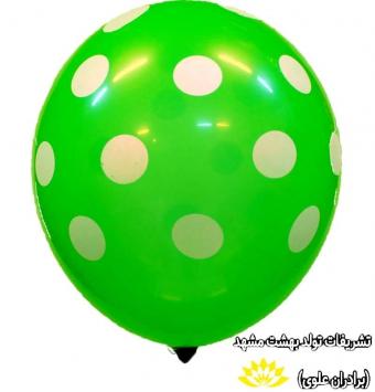بادکنک سبز خال سفید