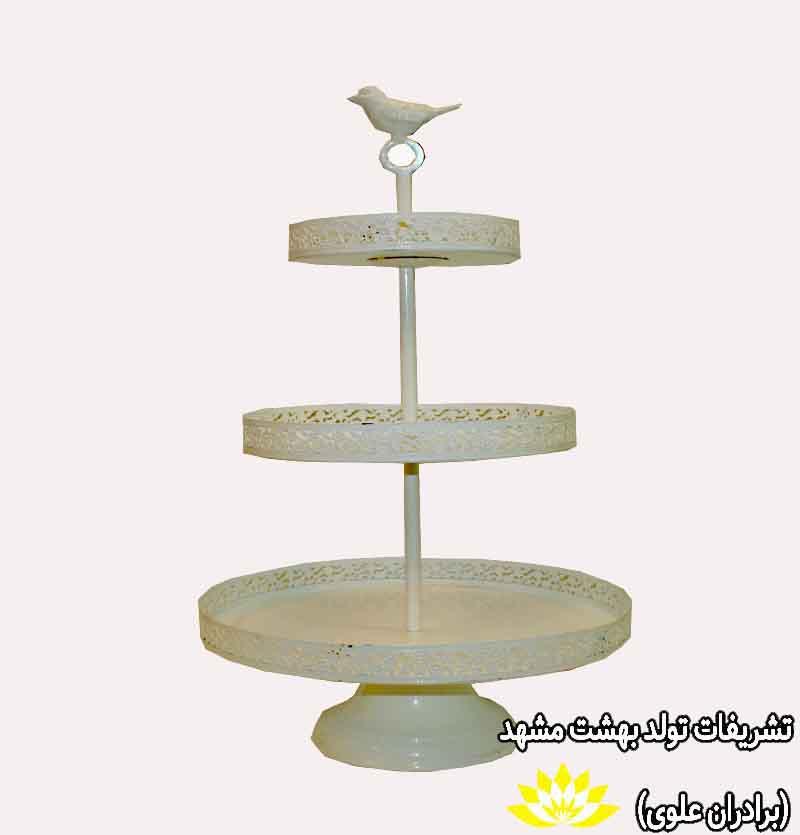 کرایه ظرف کاپ کیک 3 طبقه سفید