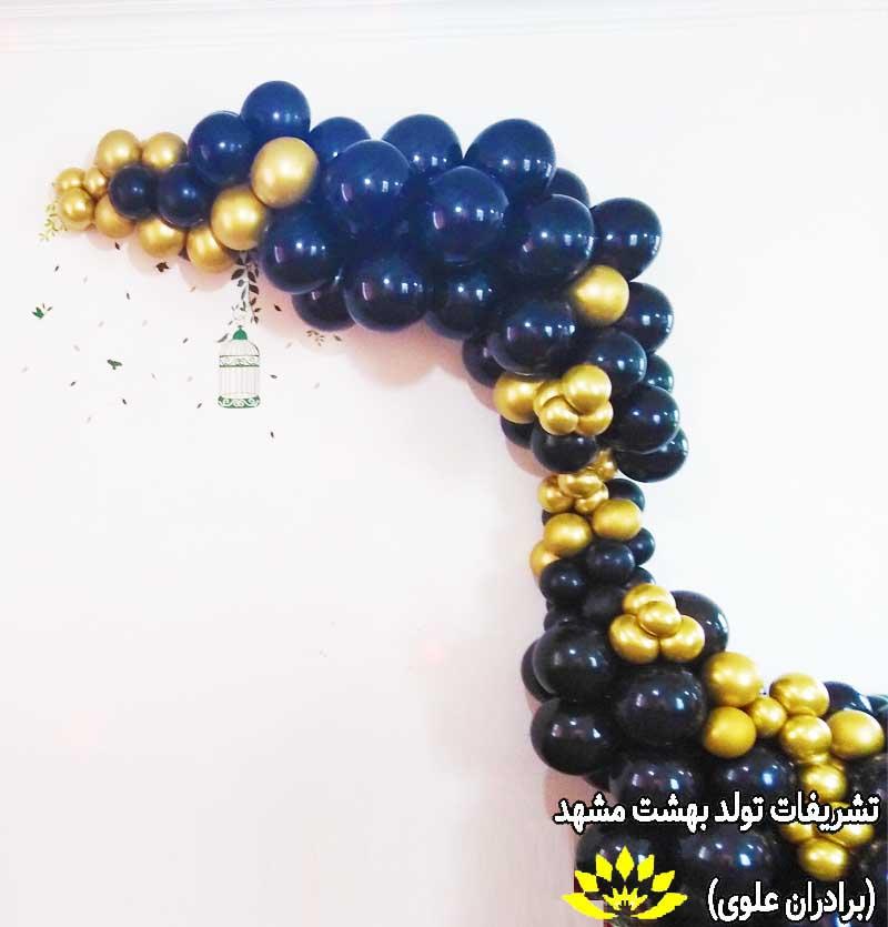بادکنک آرایی سیاه و طلایی دیزاین 25